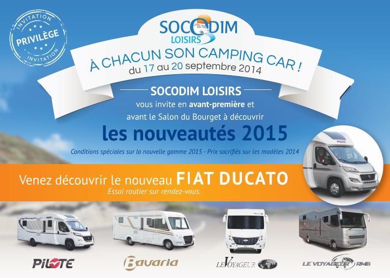 portes ouvertes du 17 au 20 septembre 2014 socodim loisirs la r f rence du camping car. Black Bedroom Furniture Sets. Home Design Ideas